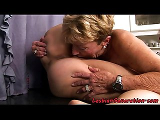 Busty babe oral pleasured by mature lady