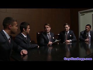Interracial business jocks loving cumshots