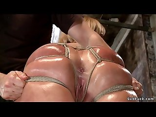 Huge ass tied blonde riding dildo
