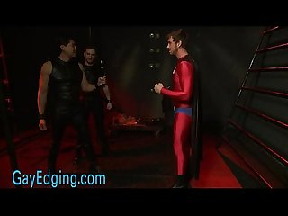 Bound gay superhero cock jerked