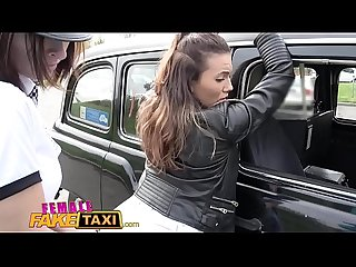 Female Fake Taxi Naughty hot cabbie makes lesbian horny cop cum