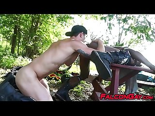 Interracial outdoor anal fucking with muscular homosexuals