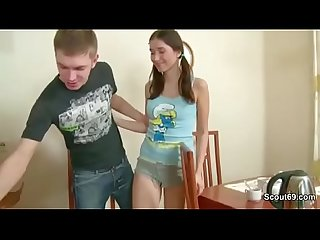 Bro seduce skinny stepsister to first fuck and creampie