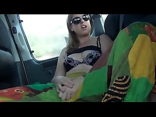 Girl spreads legs and play with her pussy while driving more at www webcamhotties Net