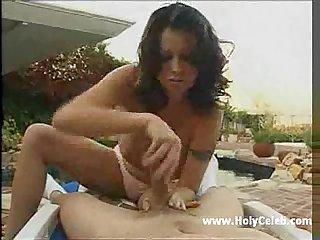 Chloe dior handjob cum on big boobs