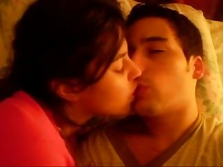 Hot girlfriend kissing her boyfriend and enjoying date