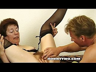 Very horny old hairy bitch sucking every drop of sperm from his young dick