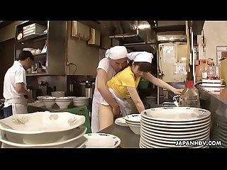 Japanese waitress mimi asuka gets finger fucked in the restaurant