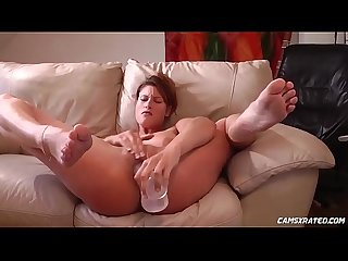 Huge dildo makes her squirt camsxrated com