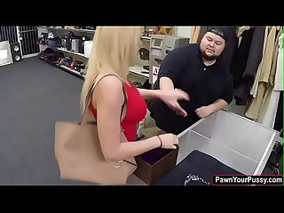 Blonde college babe fucks for cash