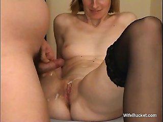 Shy wife gets a big pussy cumshot