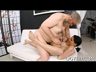 Steaming youthful chick bonks old guy