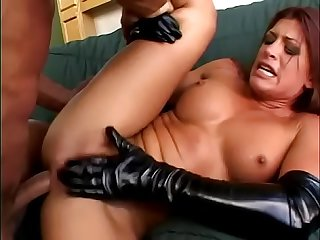 Guy chokes and assfucks this crazy anal slut in black latex Aria Noir