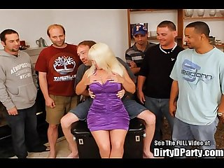Big tittied blonde milf clarissa finds cock at dirty D s bukkake party