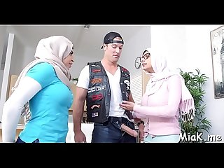 Handsome three some with Arab sluts