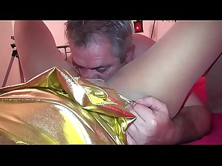 Torn nylons - granny SpicyHoneyMilf cunt fingered