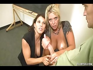 Two MILFS Milk Monster Cock in Class