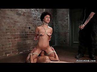 Ebony lesbians suffering crotch rope