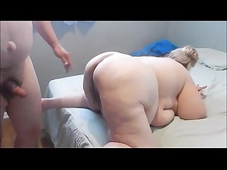Blonde Granny BBW Amateur Sucking and Fucking her lucky amore