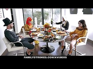 Familystrokes stepdaddy gets blowjob on thanksgiving