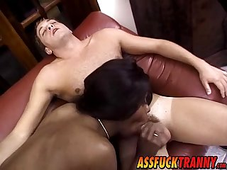 Big ebony transsexual Suzana Holmes bangs white dude hard