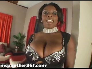 Black Pornstar Gets Her Pussy Wet With Huge White Wand