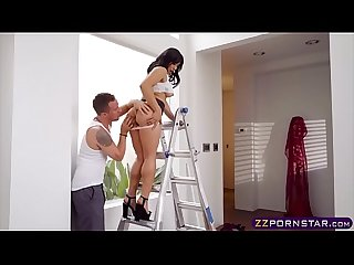 Exotic asian beauty gets doggy fucked on a ladder