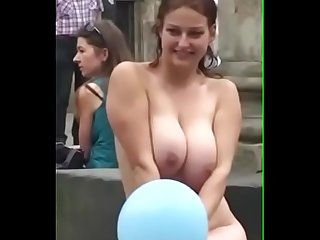 Hot and sexy girl nude in public place