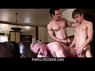 Step Dad And Hot Twink Step Son Take Turns Fucking Grandpa
