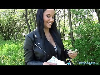 Public agent sticky facial for busty hot czech teen under railway bridge