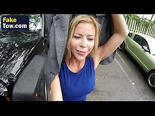 Horny MILF Alexis Fawx sucks cock and gives titjob