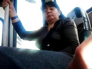 Flashin dick to mature on bus