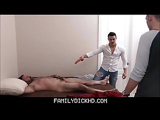 Two step Brothers play with Sleeping dad then fuck