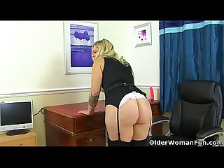 English lily milf shows us her excellent office skills