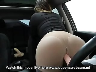 Cute woman has fun in her car- Watch Part 2 on wWw.QueensWebcam.ML