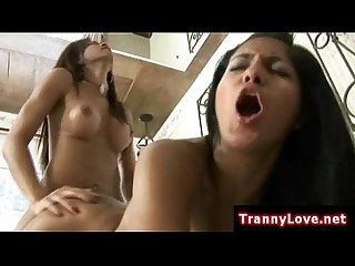 Tranny fucks hot girls tight pussy doggystyle really hard