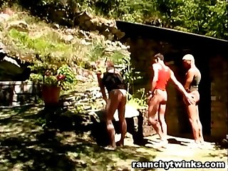 Three horny men just fucked all the way outdoors