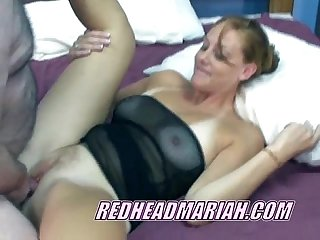 Redhead Mariah in a black dress and getiting laid