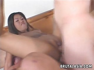 Ravishing asian slut enjoys a kinky threesome