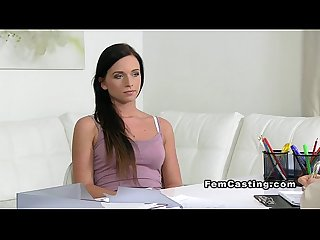 Female agent with strap on sextoy blonde