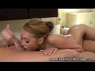 Asian masseuse babe blowjob