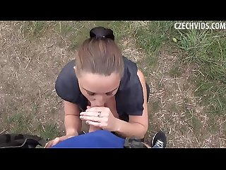 Young preggy brunette agrees to fuck for money outdoor