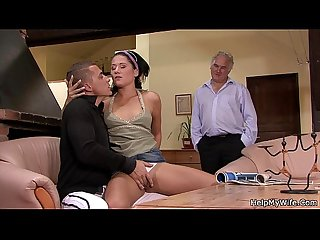 Lovely brunette wife cuckolds old husband