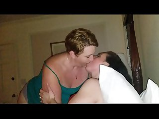 Chubby ladies kissing, intense make out. Lucky husband watches. Bbw