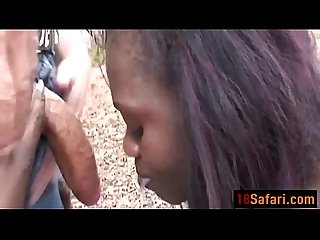 Ebony teen Forced into blowing white rod outdoorsdit ass 3