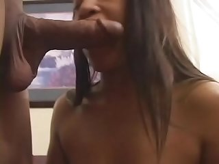 Curvy ebony floozie cali sunshine with bouncy tits gets nailed doggy style by hot stud