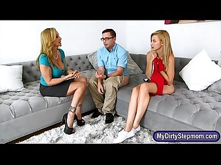 Big boobs stepmom and hot teen shared boyfriend on the couch