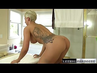 Teen blonde Dylan Phoenix gets massage and fucked hard