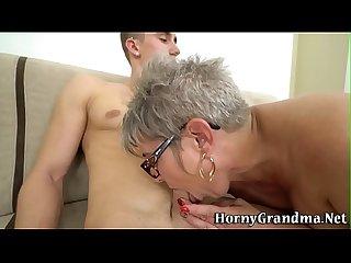 Spex grandma gets cummed