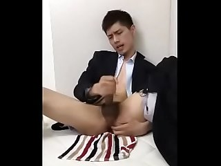 Hot chinese student jerk off in a suit